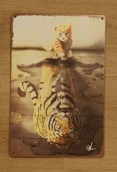"""Billboard  """" Kat spiegelbeeld tijger """""""
