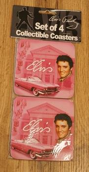 """4 Onderzetters  """" Elvis Presley """"  pink"""
