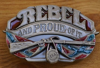 "Buckle / gesp  "" Rebel and proud of it """
