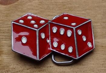 """Belt buckle / Riem gesp  """" Dobbelstenen """"  Rood"""