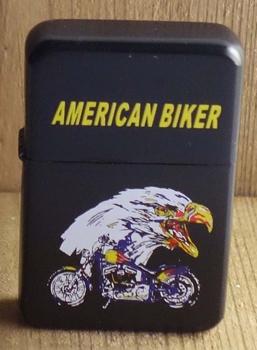 """Aansteker """" American biker  Adelaar + motor """"  Zwart"""