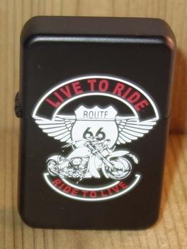 """Aansteker   """" Live to ride  Route 66 """"   Zwart"""