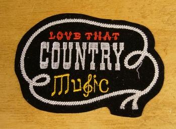 """Strijkapplicaties  """" Love that country music """""""