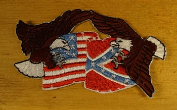 """Strijkapplicaties """" Adelaar met rebel en Amerikaanse vlag """""""