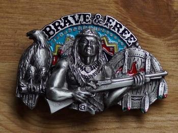 """Buckle / gesp  """" Brave & free """"   Indiaan  UITVERKOCHT"""