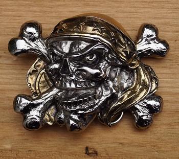 """Belt buckle  """" Piraten doodshoofd """"   goud- / zilverkleurig"""