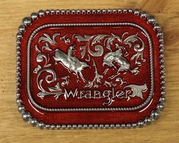 """Buckle / gesp  """" Wrangler """"   Rodeo  Rood/zilverkleurig"""