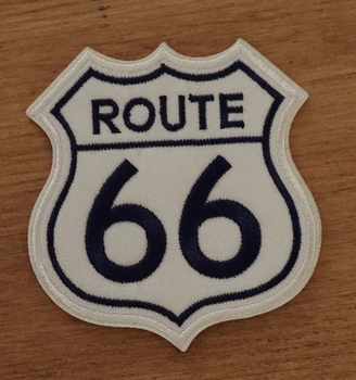 "Applicatie   "" Route 66 ""  wit / blauw"