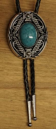 """Bolo tie  """" Turquoise steen met bloemenmotief  """""""