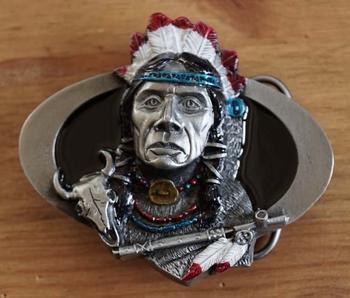 """Buckle / gesp  """" Indianenhoofd met vredespijp """""""