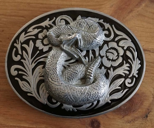 """Belt buckle  """" Snake """"   zwart / zilverkleurig"""