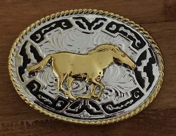 """Buckle """" Mustang paard """" zilver- / goudkleurig / zwart"""