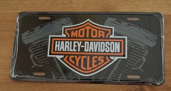 """Nummerplaat   """" Harley Davidson Cycles """" Motorblok"""