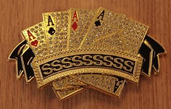 """Belt buckle  """" 4 azen poker kaarten  """"  goudkleurig"""