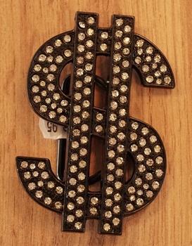 """Buckle / gesp  """" Dollar teken """"  glitter zwart"""