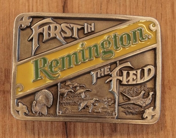"""Belt buckle  """" First in Remington, the field """""""