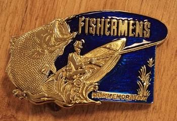 "Buckle "" Fishermens ""  blauw / goudkleurig"