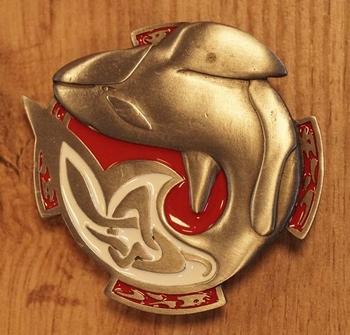 "Buckle  "" Orka ""   rood / wit /  nikkelkleurig"
