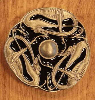 """Buckle  """" 3 keltische slangen """"  nikkelkleurig / zwart"""