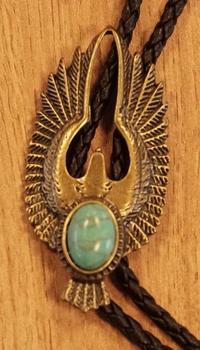 """Bolo tie  """" Adelaar met turqoiuse steen """"  koperkleurig"""