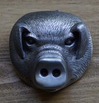 """Riem buckle  """" Zilverkleurige varkenskop """""""