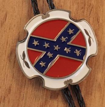 """Bolo tie  """" Zuid staten vlag """" zilver kleurig"""