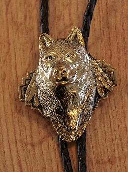 "Bolo tie  "" Wolf ""  goudkleurig"