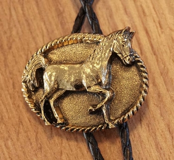 """Bolo tie  """" Paarden """"  goudkleurig"""