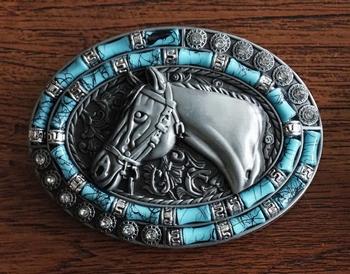"Buckle "" Paard met turquoise en strass """