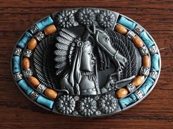 """Buckle """" Paard en indiaan met turquoise / oranje / strass """""""