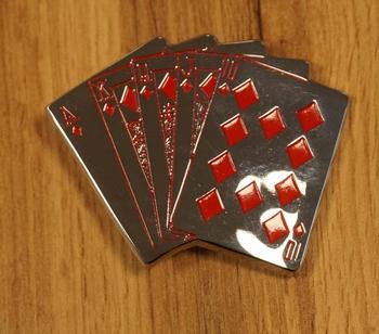 """Buckle """" Pokerhand """"  zilverkleurig"""