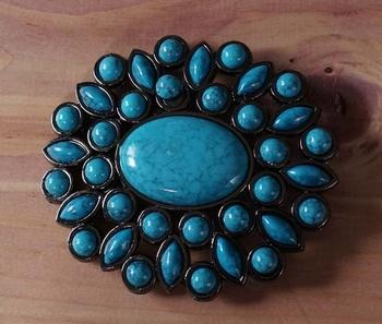 """Belt buckle  """" Grote turquoise steen met kleine steentjes """""""