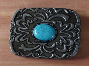 """Belt buckle  """" Turquoise steen met sierwerk """" nikkel kleurig"""