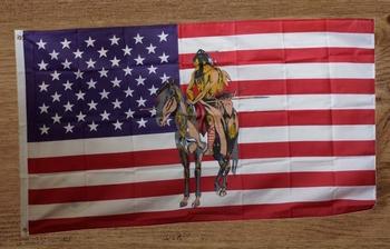 """Amerikaanse vlag """" Indiaan op paard """""""
