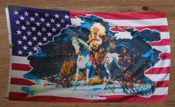 """Amerikaanse vlag, indiaan op paard """""""
