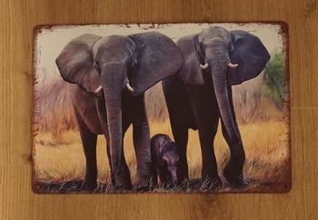 """Billboard  """" 2 volwassen olifanten + baby olifant """""""