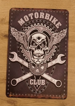 """Billboard """" Motorbike club """"  doodskop met steeksleutels"""