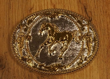 "Buckle "" Rennend paard "" zilver- / goudkleurig"
