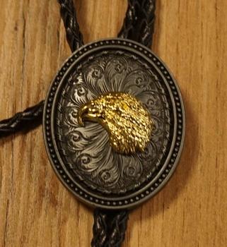 """Bolo tie  """" Goudkleurige adelaar op bloemenschild """""""