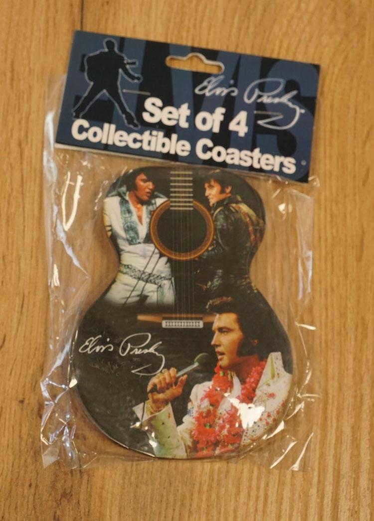 """4 Onderzetters  """" Elvis Presley """"  gitaar"""