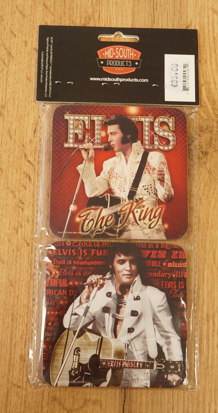 """4 Onderzetters  """" Elvis Presley """"  rood / zwart"""
