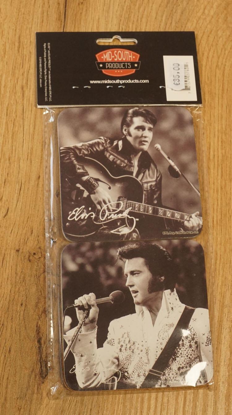 """4 Onderzetters  """" Elvis Presley """"  zwart / wit"""