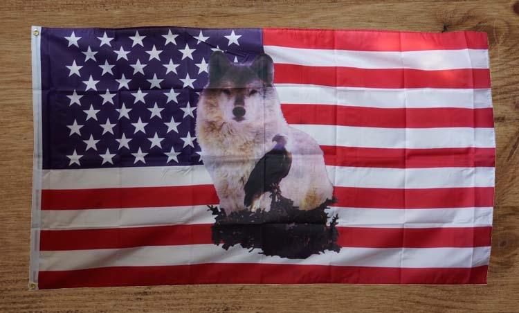 """Amerikaanse vlag """" Wolf met adelaar """""""