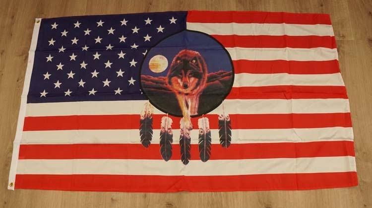 """Amerikaanse vlag """" Wolf op dromenvanger """""""