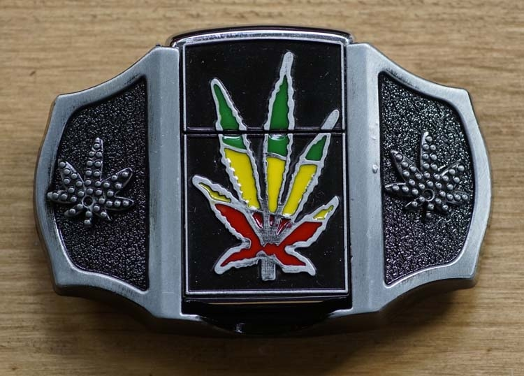 "Belt buckel with lighter ""  Marijuana """