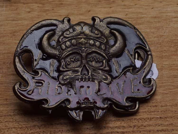 "Belt buckle  "" Ride to live ""  Viking skull motorbril"