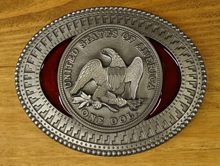 "Belt buckle  "" United States of America one dol.  """