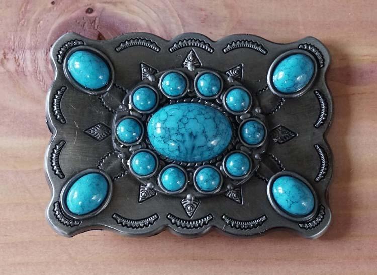 "Belt buckle "" Turquoise stenen met sierwerk "" nikkel kleurig"