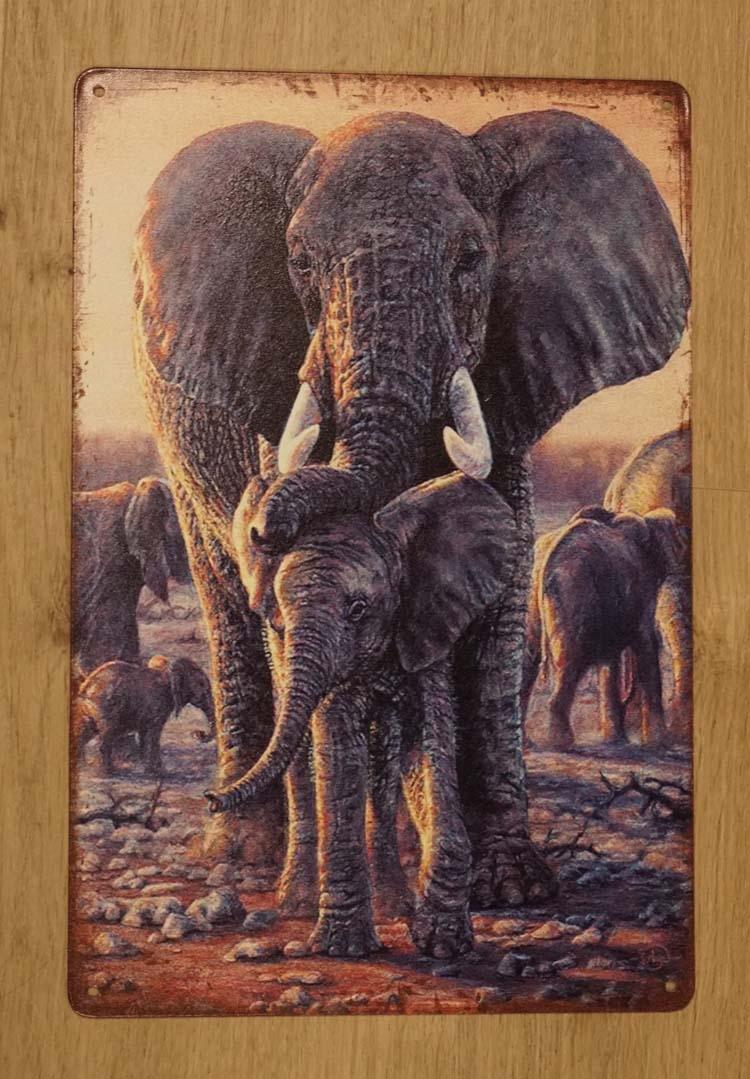 """Billboard  """" Mama olifant met kleine olifant """""""