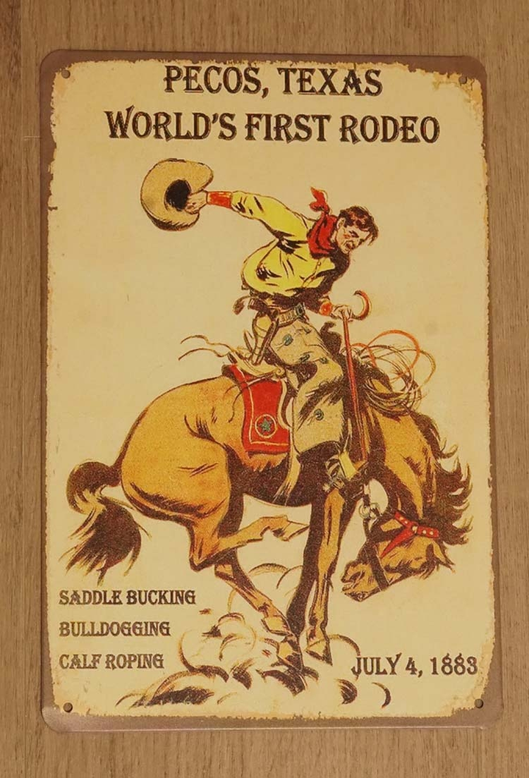 "Billboard  "" Pecos, Texas world's first rodeo """